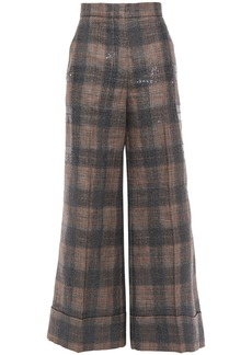 Brunello Cucinelli Woman Sequin-embellished Checked Linen-blend Wide-leg Pants Charcoal