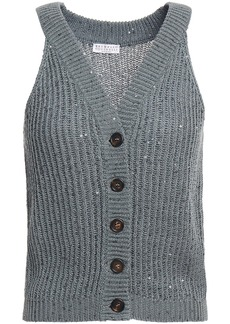 Brunello Cucinelli Woman Sequin-embellished Cotton Linen And Silk-blend Vest Grey Green