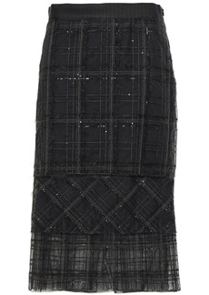 Brunello Cucinelli Woman Sequin-embellished Embroidered Tulle Midi Skirt Anthracite