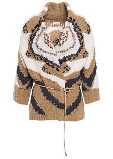 Brunello Cucinelli Woman Sequin-embellished Intarsia Wool-blend Cardigan Sand