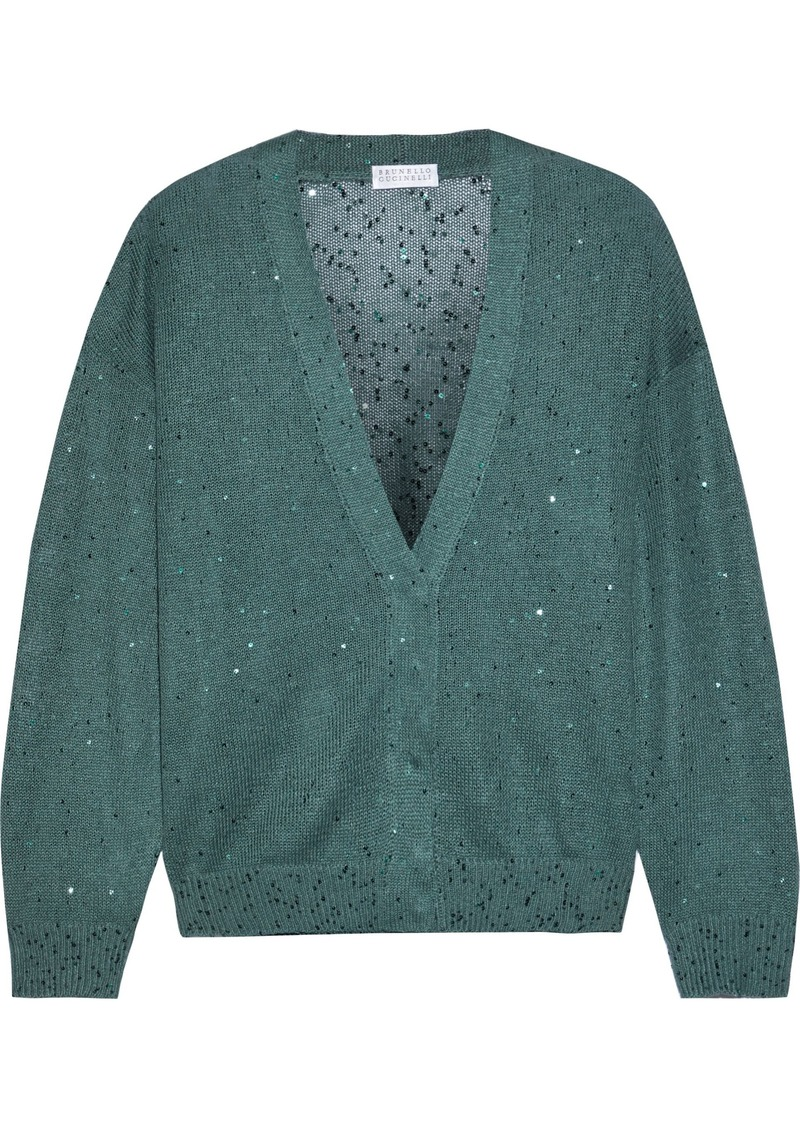 Brunello Cucinelli Woman Sequin-embellished Linen And Silk-blend Cardigan Teal