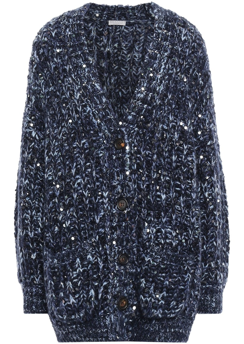Brunello Cucinelli Woman Sequin-embellished Marled Knitted Cardigan Navy