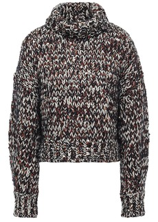 Brunello Cucinelli Woman Sequin-embellished Marled Knitted Turtleneck Sweater Dark Gray