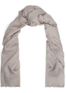 Brunello Cucinelli Woman Sequin-embellished Metallic Silk-blend Scarf Stone