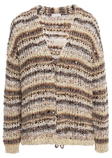 Brunello Cucinelli Woman Sequin-embellished Metallic Striped Bouclé-knit Cardigan Sand