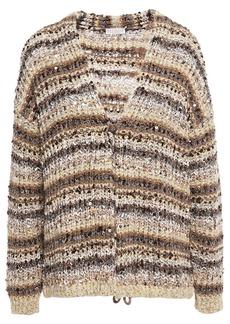 Brunello Cucinelli Woman Sequin-embellished Metallic Striped Bouclé-knit Cardigan Sand