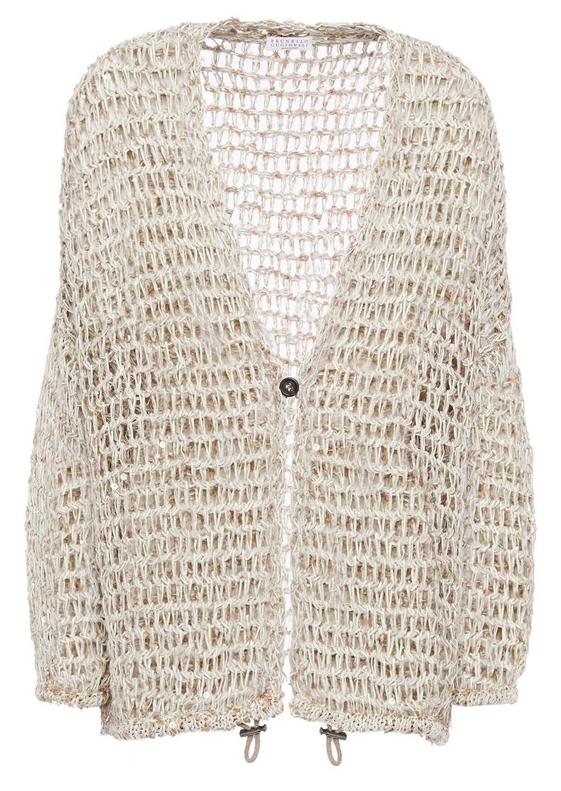 Brunello Cucinelli Woman Sequin-embellished Open-knit Cardigan Beige