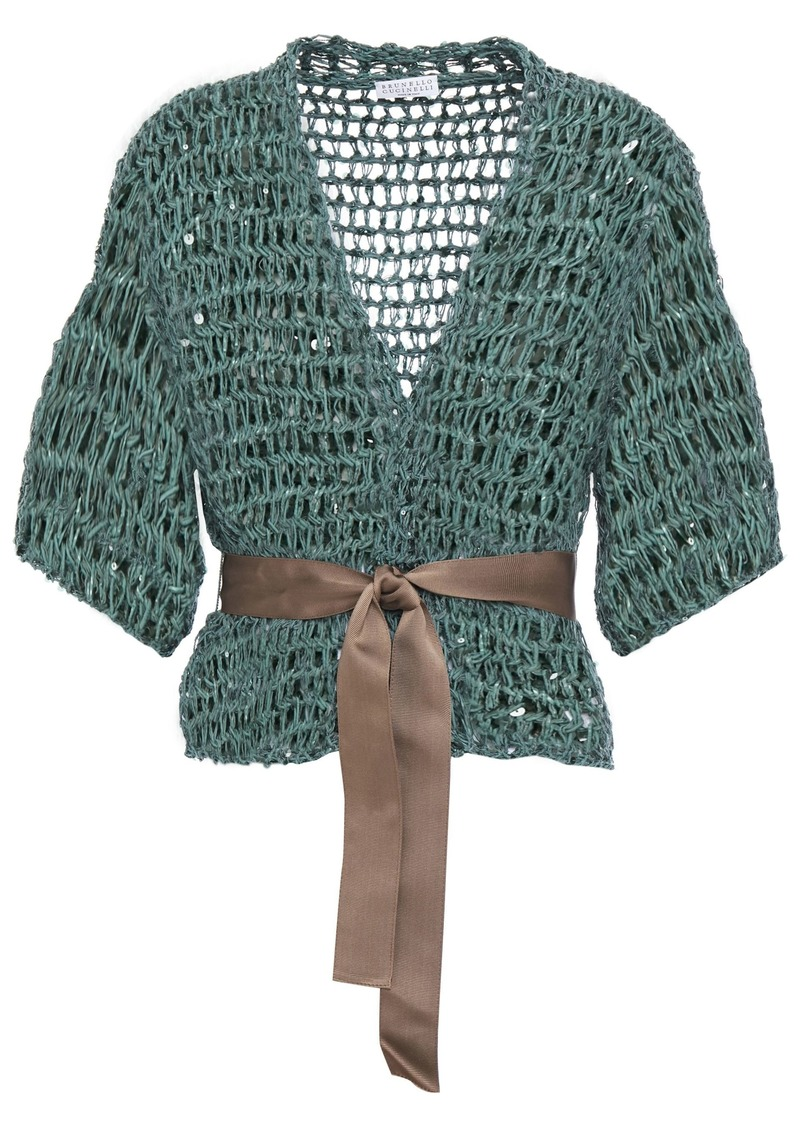Brunello Cucinelli Woman Sequin-embellished Open-knit Cardigan Grey Green