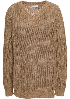 Brunello Cucinelli Woman Sequin-embellished Open-knit Sweater Sand