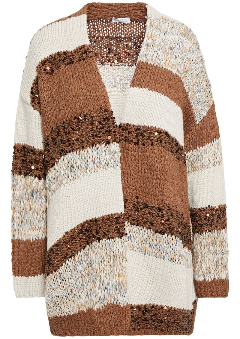 Brunello Cucinelli Woman Sequin-embellished Paneled Knitted Cardigan Brown