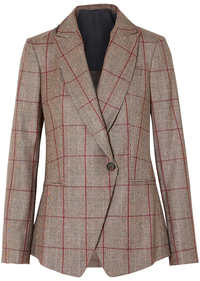 Brunello Cucinelli Woman Sequin-embellished Prince Of Wales Checked Wool Blazer Mushroom