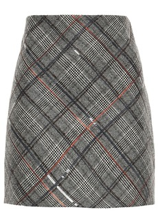 Brunello Cucinelli Woman Sequin-embellished Prince Of Wales Checked Wool Mini Skirt Anthracite