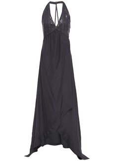 Brunello Cucinelli Woman Sequin-embellished Silk-chiffon And Cotton-blend Gown Anthracite