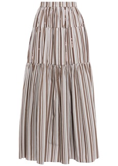 Brunello Cucinelli Woman Gathered Sequin-embellished Striped Cotton-poplin Maxi Skirt Mushroom