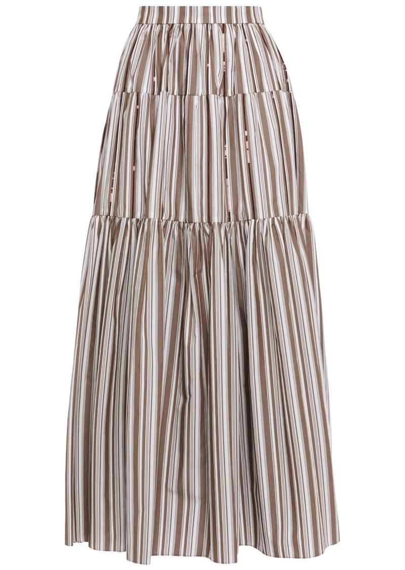 Brunello Cucinelli Woman Gathered Sequin-embellished Striped Cotton-poplin Maxi Skirt Mushroom