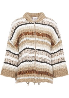 Brunello Cucinelli Woman Sequin-embellished Striped Mohair-blend Cardigan Sand