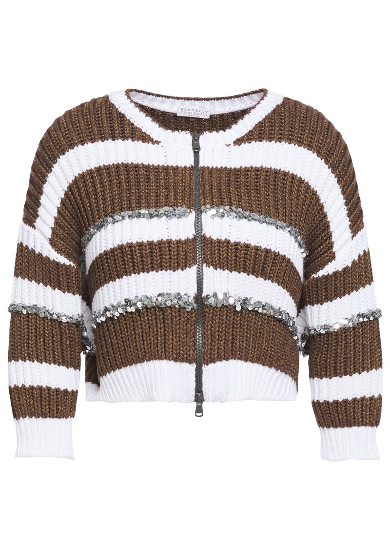 Brunello Cucinelli Woman Sequin-embellished Striped Ribbed-knit Cardigan Dark Brown