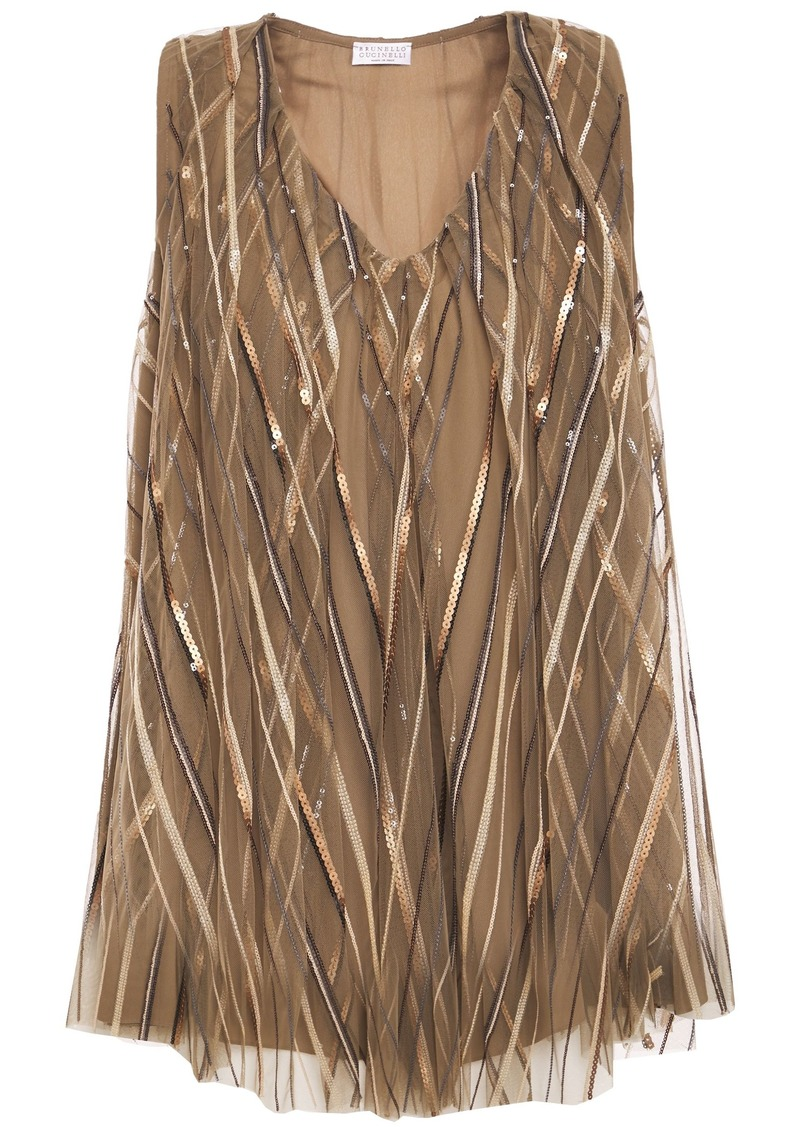 Brunello Cucinelli Woman Sequin-embellished Tulle Top Sand