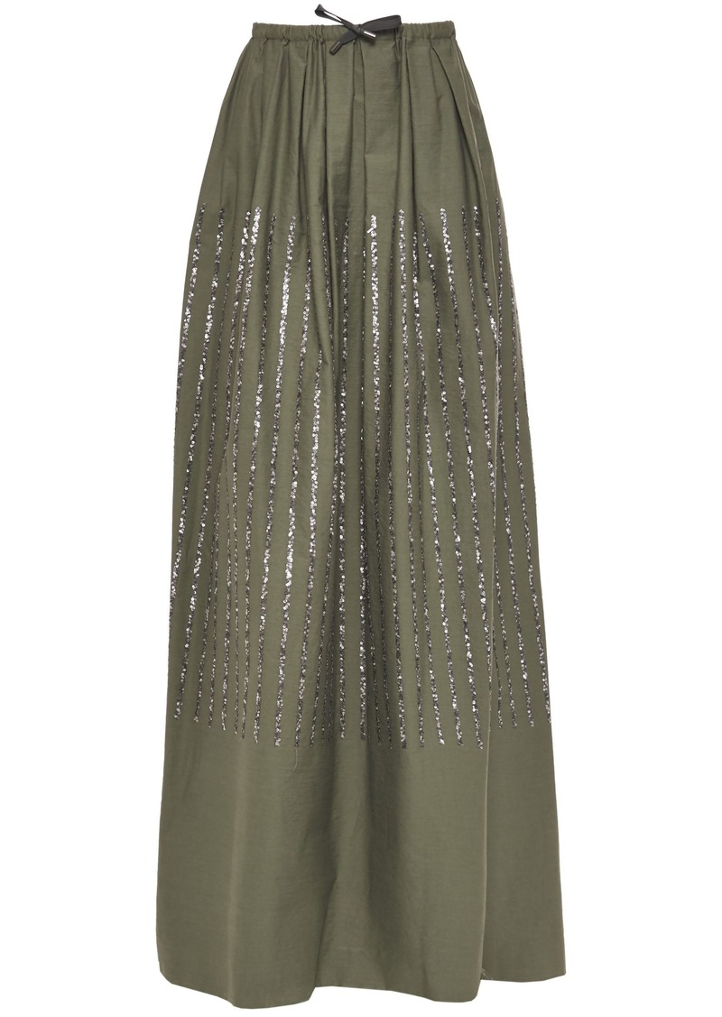 Brunello Cucinelli Woman Pleated Sequin-embellished Cotton-blend Twill Maxi Skirt Army Green