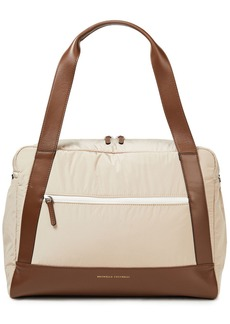 Brunello Cucinelli Woman Shell And Leather Weekend Bag Beige