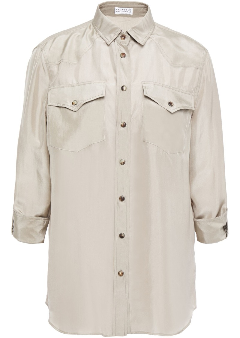 Brunello Cucinelli Woman Silk Crepe De Chine Shirt Neutral
