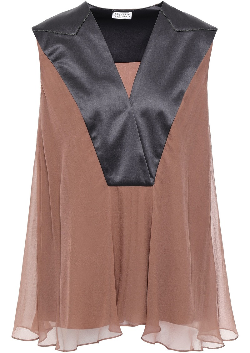 Brunello Cucinelli Woman Silk-satin And Chiffon Blouse Gunmetal