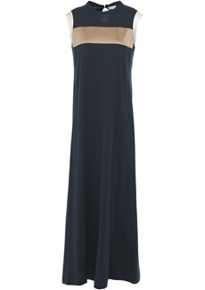 Brunello Cucinelli Woman Silk Satin-trimmed Bead-embellished Cotton-jersey Maxi Dress Navy