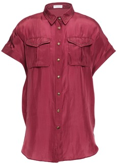 Brunello Cucinelli Woman Snap-detailed Bead-embellished Silk Shirt Plum
