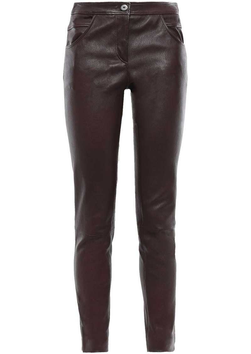 Brunello Cucinelli Woman Stretch-leather Skinny Pants Burgundy