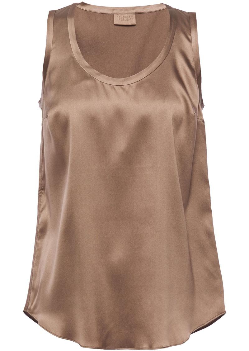 Brunello Cucinelli Woman Stretch-silk Satin Tank Light Brown
