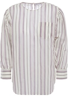 Brunello Cucinelli Woman Striped Bead-embellished Cotton And Silk-blend Mousseline Blouse Neutral