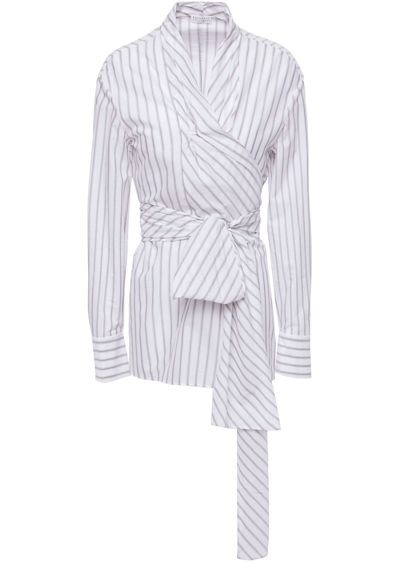 Brunello Cucinelli Woman Striped Cotton Wrap Blouse White