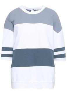 Brunello Cucinelli Woman Striped French Cotton-blend Terry Sweatshirt Sky Blue