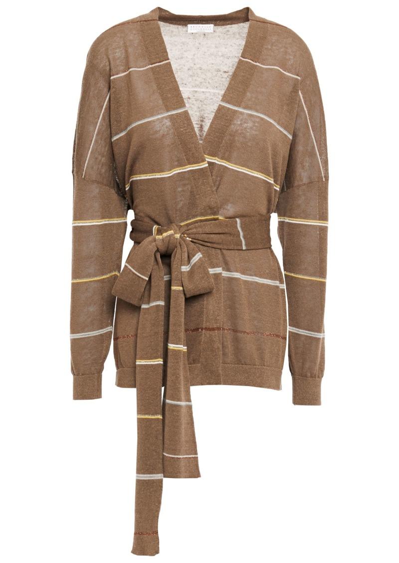 Brunello Cucinelli Woman Striped Linen-blend Wrap Cardigan Brown
