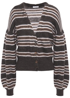 Brunello Cucinelli Woman Striped Metallic Brushed Ribbed-knit Cardigan Dark Brown