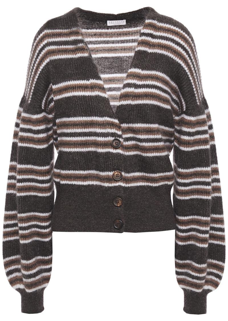 Brunello Cucinelli Woman Striped Metallic Brushed Ribbed-knit Cardigan Dark Brown