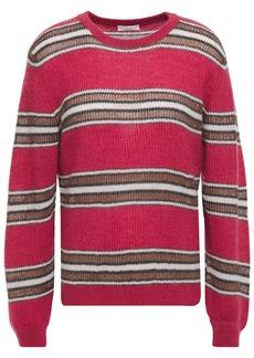 Brunello Cucinelli Woman Striped Ribbed-knit Sweater Crimson