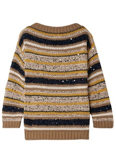 Brunello Cucinelli Woman Striped Sequined Cotton-blend Sweater Mushroom