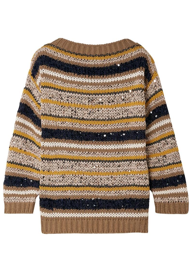 Brunello Cucinelli Woman Striped Sequined Cotton-blend Sweater Mushroom