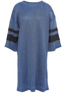 Brunello Cucinelli Woman Striped Sequined Linen And Silk-blend Dress Cobalt Blue