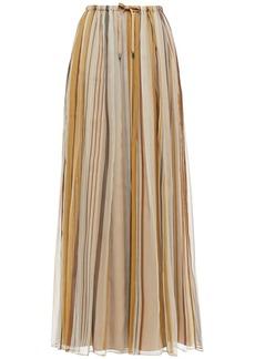 Brunello Cucinelli Woman Striped Silk-voile Maxi Skirt Beige