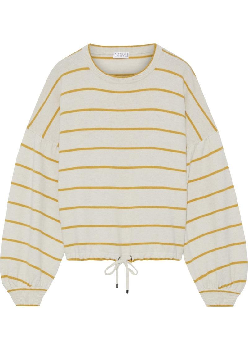 Brunello Cucinelli Woman Striped Wool Cashmere And Silk-blend Sweater Cream