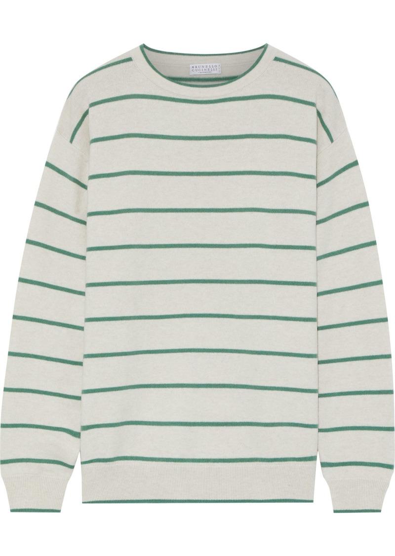 Brunello Cucinelli Woman Striped Wool Cashmere And Silk-blend Sweater Ecru