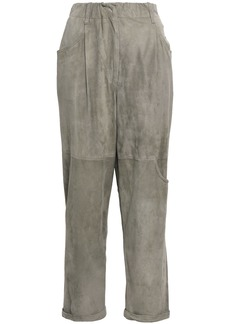 Brunello Cucinelli Woman Suede Straight-leg Pants Grey Green