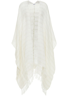 Brunello Cucinelli Woman Fringed Metallic Linen-blend Wrap Ecru