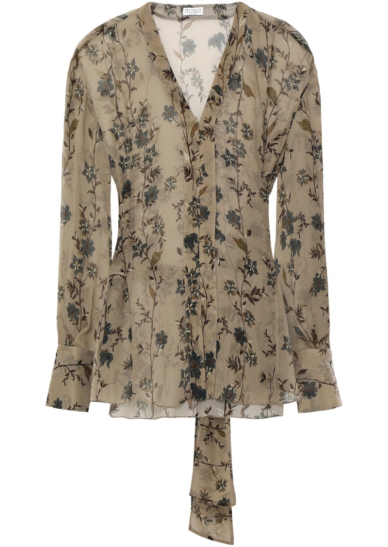 Brunello Cucinelli Woman Tie-back Printed Silk-georgette Blouse Taupe