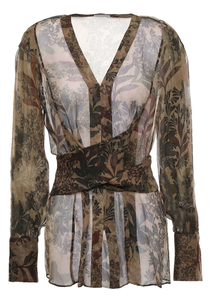 Brunello Cucinelli Woman Tie-back Printed Silk-georgette Blouse Taupe