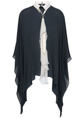 Brunello Cucinelli Woman Tie-neck Bead-embellished Draped Silk-chiffon Blouse Charcoal
