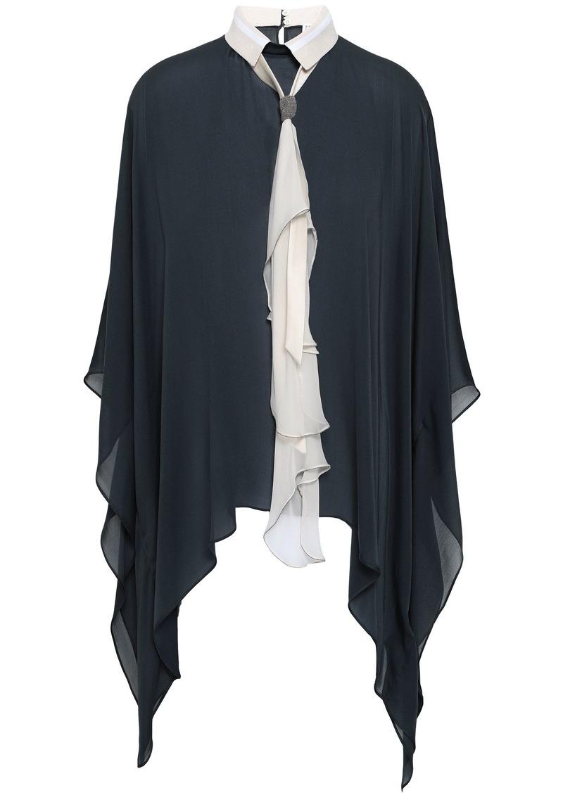 Brunello Cucinelli Woman Tie-neck Bead-embellished Draped Silk-chiffon Blouse Charcoal