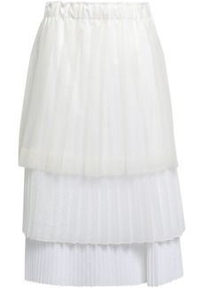 Brunello Cucinelli Woman Tiered Pleated Coated-tulle Organza And Poplin Midi Skirt Ivory